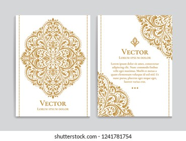 Gold and white vintage greeting card. Luxury vector ornament template. Great for invitation, flyer, menu, brochure, postcard, background, wallpaper, decoration, packaging or any desired idea.