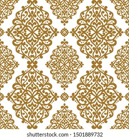 Gold and white vintage vector seamless pattern, wallpaper. Elegant classic texture. Luxury ornament. Royal, Victorian, Baroque elements. Great for fabric and textile, wallpaper, or any desired idea.