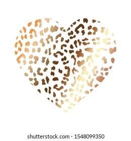 gold wild heart leopard. Fashion Vector illustration heart shape. Print jiraffe shining texture pattern. rich golden exotic panther animal skin texture. Trendy animal print. Vector illustration