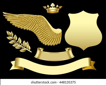 Gold wing, crown, sign, ribbon and laurel branch. Classic design elements. Vector illustration