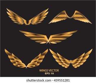 Gold wings eagle bird logo set on black background vector illustration.
