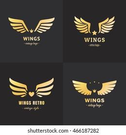Gold wings logo vector set on the black background. Vintage hipster design. Part two.