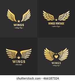 Gold wings logo vector set on the black background. Vintage hipster design. Part one.