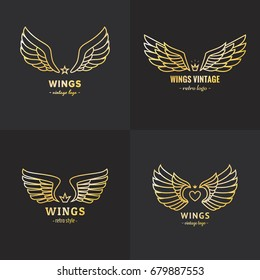 Gold wings outline logo vector set. Vintage hipster design.