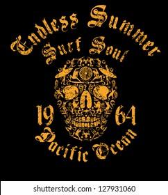 gold wings surf skull vector art