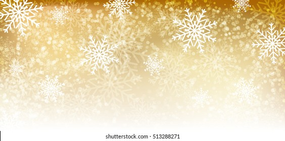 Gold winter background with  snowflakes.