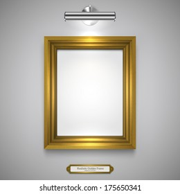 Gold Wood Frame for Picture and Lamp on a Wall, Vector Illustration