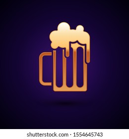 Gold Wooden beer mug icon isolated on dark blue background.  Vector Illustration