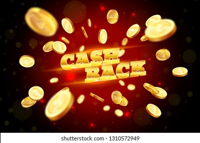 The gold word Cashback, amid the explosion of coins. Vector illustration background