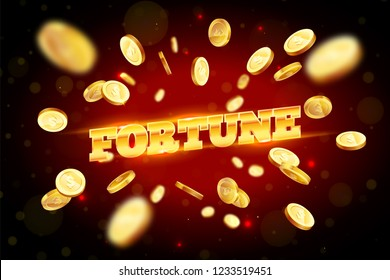 The gold word Fortune, surrounded by attributes of gambling, on a explosion background. The new, best design of the luck banner, for gambling, casino, poker, slot, roulette or bone.