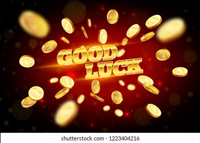 The gold word Good Luck, surrounded by attributes of gambling, on a explosion background. The new, best design of the luck banner, for gambling, casino, poker, slot, roulette or bone.