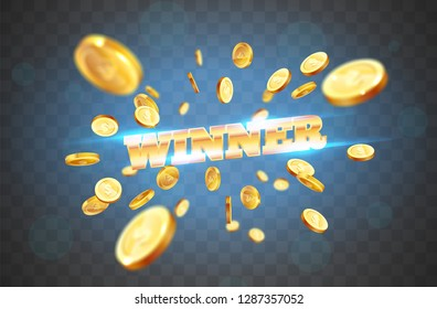 The gold word Winner, amid the explosion of coins. Vector illustration on a transparent background