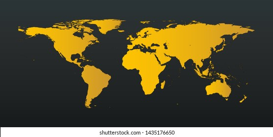 Gold World or Earth Map with complete Island on Black bacground Vector  illustration - Elements of this image furnished by NASA.