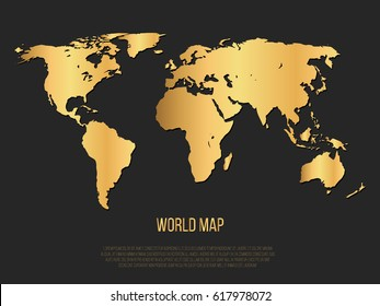 Gold World Map On Black Background. Vector