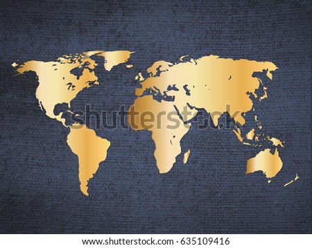Gold World Map Poster.Gold World Map On Deep Blue Stock Vector Royalty Free 635109416