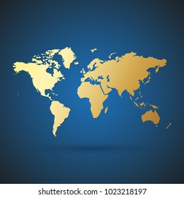 Gold World map with shadow. Vector illustration. Golden map on blue background