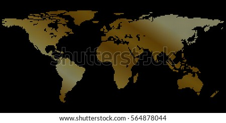 Gold World Map Your Desktop Background Stock Vector Royalty Free