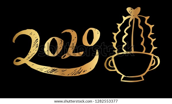 Cactus Cup 2020.Gold Year 2020 Typography Cactus Vector Stock Vector