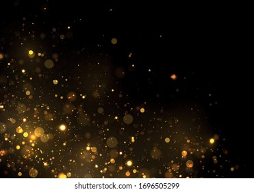 Gold, yellow bokeh effect on black background. Glitter and elegant for Christmas. Dust white. Sparkling magical particles. Magic concept. Vector