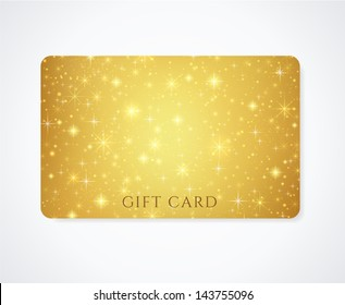 Gold (yellow, golden) Gift, Business card template with abstract pattern, sparkling, twinkling stars. Cosmic atmosphere (background). Universe. Design for discount card, invitation, ticket. Vector