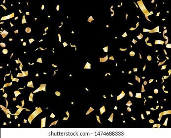 Gold yellow on black shiny holiday realistic confetti flying vector background. Premium flying tinsels, foil texture serpentine streamers, sparkles, confetti falling Christmas background.