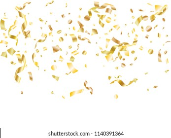 Gold yellow on white glowing holiday realistic confetti flying vector background. Trendy flying tinsels, foil texture serpentine streamers, sparkles, confetti falling anniversary background.
