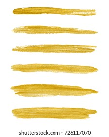 Gold yellow paint vector textured abstract brushes. Golden hand drawn brush strokes