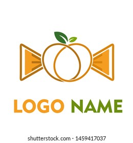 gold yellow peach line with leaf concept vector logo