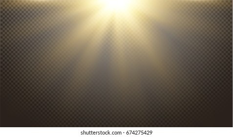 Gold Yellow warm light effect, glitter hot sun dust, sun rays, beams, abstract elements on transparent background, golden sparkles. Vector illustration.