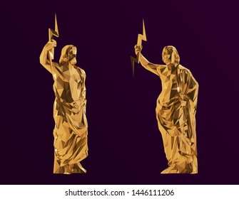 Gold Zeus. Shiny Metallic Set of Golden Zeus on Purple Background. Low Poly Vector 3D Rendering