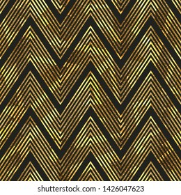 Gold zigzag stripes vector seamless pattern.
