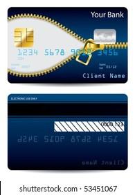 Gold zipper blue credit card