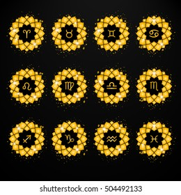 Gold zodiac signs icons, decorative elements for design in vector. Set of astrological symbols. Gold splash.