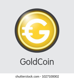 Goldcoin. Virtual Currency. GLD Colored Logo Isolated on Grey Background. Stock Vector Graphic Symbol.