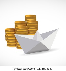 goldcoins and paper boat. business concept. illustration design graphic isolated over white