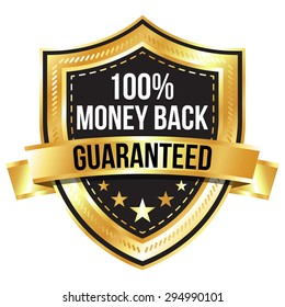 Golden 100% Money Back Guaranteed Shield with Gold Ribbon