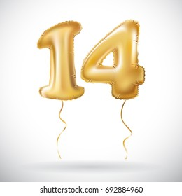 Golden 14 number fourteen metallic balloon. Party decoration golden balloons. Anniversary sign for happy holiday, celebration, birthday, carnival, new year. art