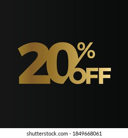 Golden 20 percent off flat cartoon style vector logo concept. 20 % sale isolated icon on black background. Twenty percent discount for business. Vector illustration