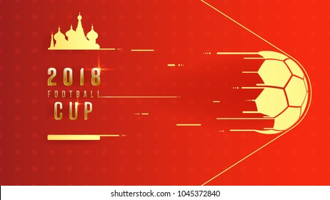 Golden 2018 world championship football cup on red background. 16:9 aspect ratio, Poster soccer template background, vector illustration.