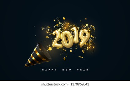 Golden 2019 numbers, party popper cone and glittering confetti isolated on black. Vector festive illustration. Holiday decoration with sparkling tinsel particles. Happy New Year