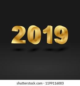 Golden 2019 on black background, stock vector