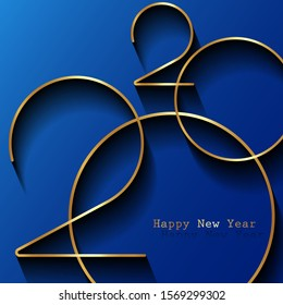 Golden 2020 Happy New Year logo. Holiday greeting card. Vector illustration. Holiday design for greeting card, invitation, calendar, party, gold luxury vip, isolated on blue background