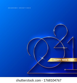 Golden 2021 New Year logo. Holiday greeting card. Vector illustration. Holiday design for greeting card, invitation, calendar, etc.