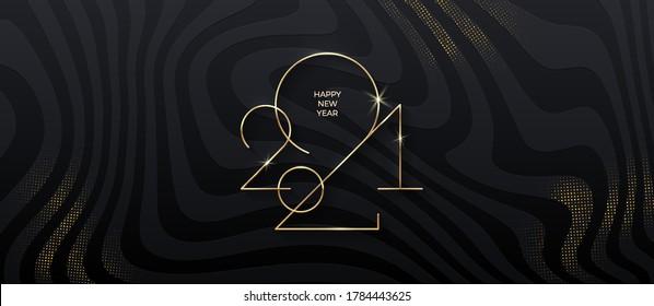 Logo de Nouvel An Doré 2021 sur fond noir rayé avec dorure. Carte de voeux de Noël. Illustration vectorielle. Conception des fêtes pour carte de voeux, invitation, calendrier, etc.