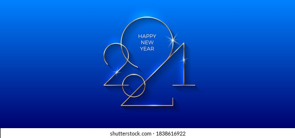 Golden 2021 New Year logo. Holiday greeting card. Vector illustration. Holiday design for invitation, calendar, greeting card, etc.