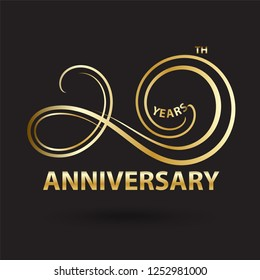 golden 20th anniversary logo and sign, gold celebration symbol