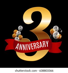 Golden 3 Years Anniversary Template with Red Ribbon Vector Illustration EPS10