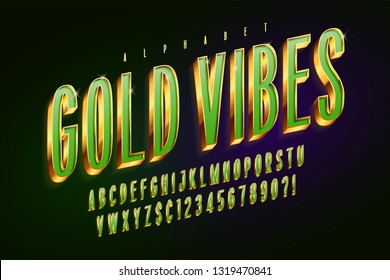 Golden 3d green glossy font, gold letters and numbers. Swatch color control