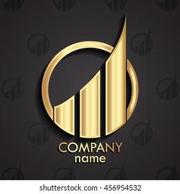 golden 3d modern design logo template / vector illustration