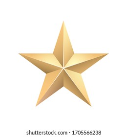 Golden 3d star with Golden 3d star with highlights. Icon for holiday design element. Vector illustration.